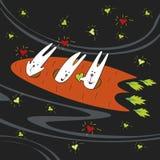 Mosca dei conigli sulla carota Fotografia Stock
