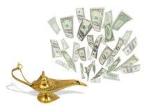 Mosca del dinero fuera de la lámpara mágica de Aladdin ilustración del vector