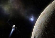 Mosca del veicolo spaziale al pianeta sconosciuto Esplorazione spaziale illustr 3d Immagine Stock Libera da Diritti