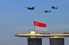 Mosca della bandierina di Singapore oltre durante il NDP 2010 Immagine Stock