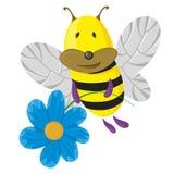 Mosca di ape con il fiore Fotografie Stock Libere da Diritti