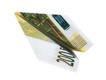 Mosca do avião do dinheiro da ilustração euro- no fundo branco isolado Imagens de Stock