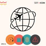 Mosca do avião em torno do ícone do logotipo da terra do planeta Foto de Stock