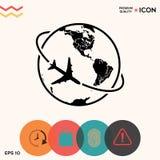 Mosca do avião em torno do ícone do logotipo da terra do planeta Imagens de Stock Royalty Free