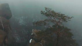 Mosca do helicóptero sobre as rochas onde o homem no revestimento amarelo está Tempo de inverno video estoque