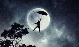 Mosca do homem no guarda-chuva Meios mistos Foto de Stock