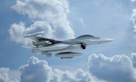 Mosca en el cielo, avión de combate militar americano del F-16 del jet Ejército de los E.E.U.U. Foto de archivo libre de regalías