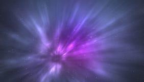 Mosca en el medio de la nebulosa con la galaxia y las estrellas Fotos de archivo
