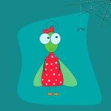 A mosca engraçada em um vestido vermelho com uma curva e uns desenhos animados pequenos da aranha denominam o pa em um fundo azul Fotografia de Stock Royalty Free