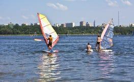 Mosca, facente windsurf Fotografia Stock