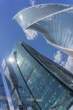 MOSCA - 8 GIUGNO 2017: Vista grandangolare dei grattacieli della Mosca-città Costruzioni commerciali moderne Fotografia Stock Libera da Diritti