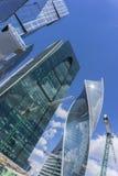 MOSCA - 8 GIUGNO 2017: Vista grandangolare dei grattacieli della Mosca-città Costruzioni commerciali moderne Fotografia Stock