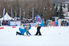Mosca, il 18 gennaio 2015: FIS Ski Cup Race Immagini Stock Libere da Diritti