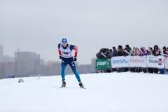 Mosca, il 18 gennaio 2015: FIS Ski Cup Race Immagine Stock