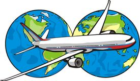 Mosca intorno al mondo Illustrazione di Stock