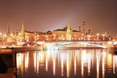 Mosca Kremlin alla notte Fotografia Stock