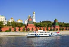 Mosca Kremlin e fiume di Moskva Immagine Stock