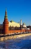Mosca Kremlin e fiume di Moskva in inverno Fotografia Stock Libera da Diritti