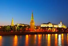 Mosca Kremlin nella notte di estate Fotografia Stock