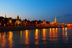 Mosca Kremlin nella notte di estate Fotografia Stock Libera da Diritti