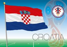 MOSCA, la RUSSIA, giugno-luglio 2018 - la Russia un logo di 2018 coppe del Mondo e la bandiera della Croazia Immagine Stock