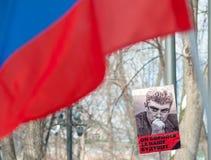 Mosca - la Russia, il 25 febbraio, alla memoria di Boris Nemtso Immagini Stock