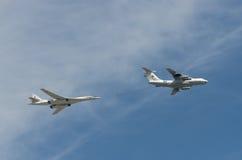 MOSCA - 9 MAGGIO: Bombardiere TU-160 sulla parata votata al settantesimo anniversario della vittoria nella grande guerra patriott Immagini Stock Libere da Diritti