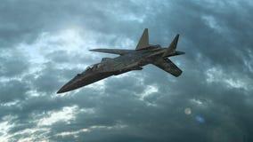 Mosca militar del avi?n de combate en nubes Puesta del sol maravillosa Animaci?n realista 3D libre illustration