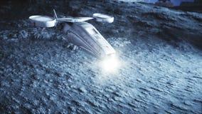 Mosca militar do navio de espaço na lua Colônia da lua Backround da terra Animação 4K realística ilustração stock