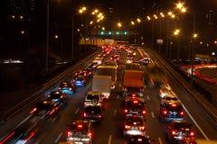Mosca non dorme mai questo è il traffico di notte Fotografia Stock Libera da Diritti