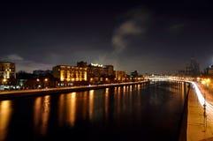 Mosca, notte, fiume, case, Immagini Stock
