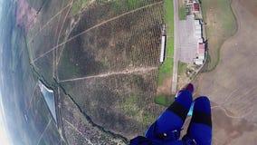 Mosca profesional del skydiver en el paracaídas en cielo Naturaleza adrenalina vuelo almacen de metraje de vídeo
