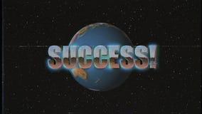 Mosca retra brillante de la palabra del éxito del estilo de VHS adentro y hacia fuera en vintage único del fondo de la animación  ilustración del vector