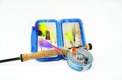 Mosca Rod do Saltwater e carretel com caixa da mosca Foto de Stock