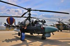 MOSCA, RUSSIA - AGOSTO 2015: alligatore dell'attacco con elicottero Ka-52 pre Fotografia Stock