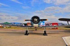 MOSCA, RUSSIA - AGOSTO 2015: texano degli aerei di istruttore T-6 presentato Fotografia Stock