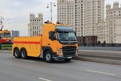 Mosca, Russia - 20 aprile 2019: Le automobili speciali sono partecipanti obbligatori della parata del tram a Mosca immagine stock libera da diritti