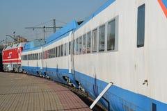 Mosca, Russia - 1° aprile 2017 Sokol 250 è treno ad alta velocità russo con esperienza in museo della storia del trasporto ferrov Immagine Stock