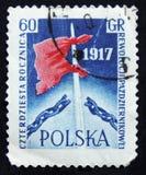 MOSCA, RUSSIA - 2 APRILE 2017: Un bollo della posta stampato in Polonia s Fotografia Stock Libera da Diritti