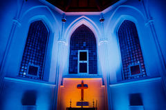 MOSCA, RUSSIA - 27 GENNAIO 2017: Vista interna della st storica Andrews Anglican Church fotografia stock