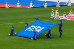 Mosca, Russia - 14 giugno 2018: Cerimonia di apertura sullo stadio Fotografia Stock Libera da Diritti