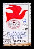MOSCA, RUSSIA - 20 GIUGNO 2017: Un bollo stampato in Czechoslovaki Immagini Stock