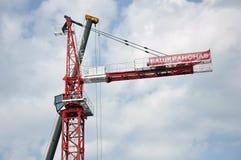 Mosca, Russia -29 maggio 2015 BASHKRANSNAB - società che si specializza nella vendita, affitto delle gru a torre progettate per Immagine Stock Libera da Diritti