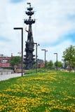Mosca, Russia - 13 maggio 2019: Monumento al Peter le grande per commemorare 300 anni della marina russa fotografia stock libera da diritti