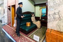 MOSCA, RUSSIA - 11 marzo 2017 Vecchio coupé della classe 1 in museo della ferrovia di Mosca Fotografia Stock Libera da Diritti