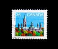 MOSCA, RUSSIA - 24 NOVEMBRE 2017: Un bollo stampato nel Canada SH Immagini Stock