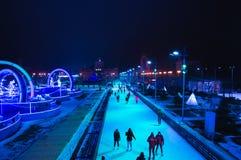 Mosca, Russia, nuovo anno, natale, pattinaggio su ghiaccio, vdnkh fotografia stock