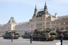Mosca, Russia - possono 09, 2008: celebrazione della parata di Victory Day WWII sul quadrato rosso Passaggio solenne di attrezzat Immagine Stock Libera da Diritti