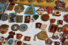 Mosca, Russia - possono 07 2017 Distintivo commerciale dei periodi dell'URSS immagini stock