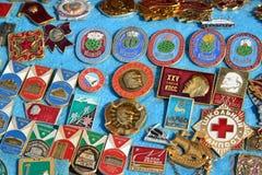 Mosca, Russia - possono 07 2017 Distintivo commerciale dei periodi dell'URSS fotografia stock